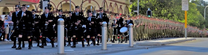 Panaroma of the band at ANZAC Day