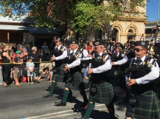 The front rank of pipers on the charge!
